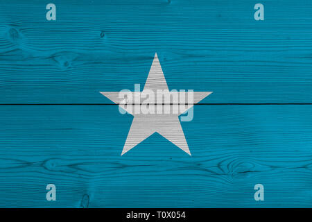 Somalia flag painted on old wood plank - Stock Photo