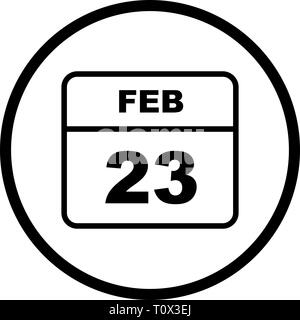 February 23rd Date on a Single Day Calendar - Stock Photo