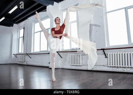 Pleasant attractive ballerina dancing alone in the hall - Stock Photo