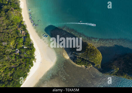 View from above, Stunning aerial view of the beautiful Railay Beach during low tide, Ao Nang, Krabi Province, Thailand. - Stock Photo