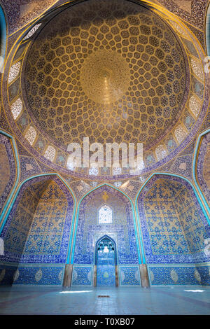 Sheikh Lotfollah mosque interior, Isfahan, Iran - Stock Photo