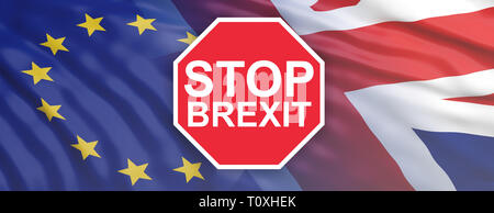 Stop Brexit concept. Red stop sign with text STOP BREXIT against UK and EU flags background, banner - Stock Photo