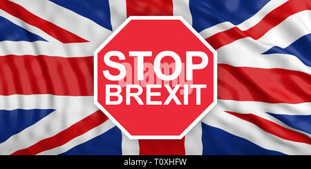 Stop Brexit concept. Red stop sign with text STOP BREXIT against United Kingdom flag background. 3d illustration - Stock Photo