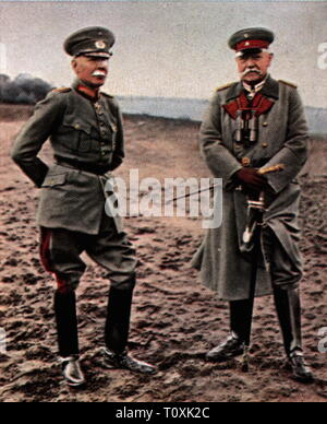 military, Germany, army, exercises, autumn manoeuvre, September 1926, President of the Reich Paul von Hindenburg and chief the Army Command colonel-general Hans von Seeckt as observers, coloured photograph, cigarette card, series 'Die Nachkriegszeit', 1935, generals, officers, officer, training, autumn, fall, soldiers, soldier, Reichswehr, people, Germany, German Reich, Weimar Republic, 1920s, 20th century, army, armies, exercises, exercise, autumn manoeuvre, autumn maneuver, chief, chiefs, colonel-general, general, observer, observers, coloured,, Additional-Rights-Clearance-Info-Not-Available - Stock Photo