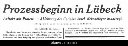 medicine, vaccination, Luebeck vaccination disaster, article about the start of the court proceedings, from: 'Berliner Tageblatt', Berlin, 12.10.1931, Additional-Rights-Clearance-Info-Not-Available - Stock Photo