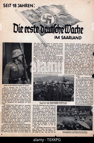 Nazism / National Socialism, politics, integration of the Saarland, 1935, article, 'The first German guard in the Saarland', March 1935, Territory of the Saar Basin, reincorporation, entry, marching in, military, soldiers, soldier, Wehrmacht, German armed forces, 38. infantry regiment, Reichskriegsflagge, imperial war flag, flag, flags, swastika, swastikas, people, press, presses, journal, Germany, German Reich, Third Reich, 20th century, 1930s, politics, policy, social integration, economic integration, article, articles, historic, historical, Additional-Rights-Clearance-Info-Not-Available - Stock Photo