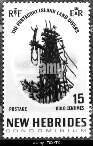 mail, postage stamps, Vanuatu, Condominium of New Hebrides, 15 gold centimes special issue, land divers of the Pentecost Island, date of issue: 1969, Additional-Rights-Clearance-Info-Not-Available - Stock Photo