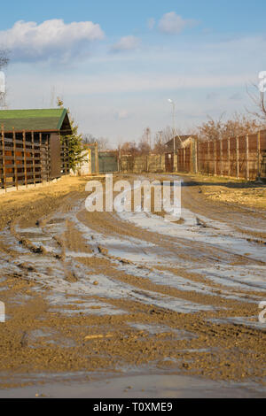 muddy dirt road - low angle portrait image - Stock Photo
