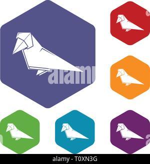 Origami bird icons vector hexahedron - Stock Photo