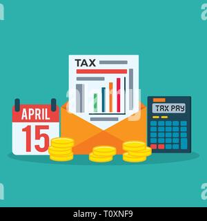 calendar, tax document , calculator , coin for tax day concept vector illustration - Stock Photo