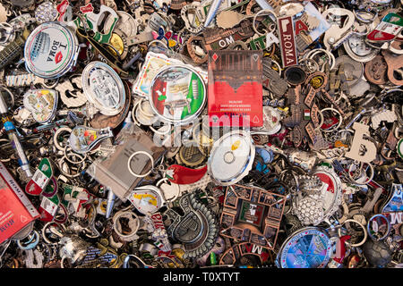 Wallpaper background of a store basket full of Rome souvenirs. Italian memories. - Stock Photo