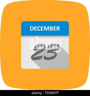 December 23rd Date on a Single Day Calendar - Stock Photo