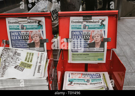 LONDON - MARCH 20, 2019: Evening Standard newpaper on street stall with Brexit coverage - Stock Photo