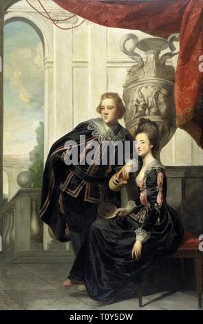 Sir Watkin Williams-Wynn and Lady Henrietta Williams-Wynn his wife, in masque costume, c1769. Creator: Sir Joshua Reynolds. - Stock Photo