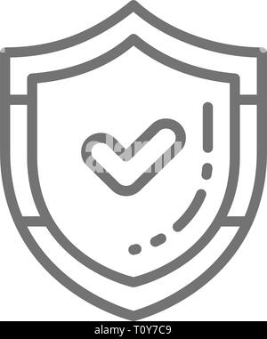 Shield with check mark, quality control protection, accepted, approved line icon - Stock Photo