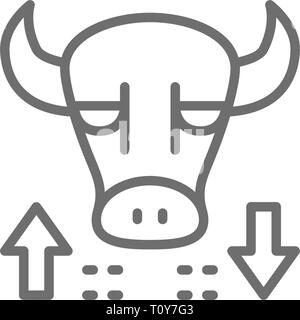 Bull, stock market, finance trade line icon. - Stock Photo