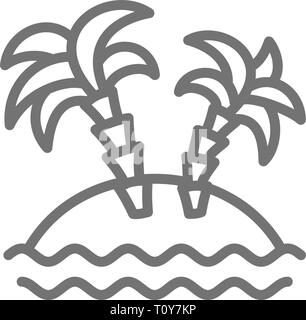 Desert island with palm trees line icon. - Stock Photo