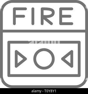 Fire alarm system, button line icon. Isolated on white background - Stock Photo