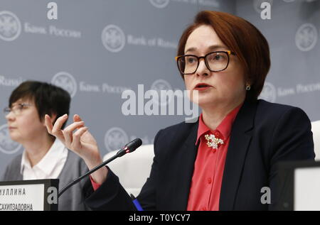 Moscow, Russia. 22nd Mar, 2019. MOSCOW, RUSSIA - MARCH 22, 2019: Russian Central Bank Governor Elvira Nabiullina (R) gives a news conference following a board of directors meeting. It was decided to hold the key rate at 7.75% per annum. Gavriil Grigorov/TASS Credit: ITAR-TASS News Agency/Alamy Live News - Stock Photo