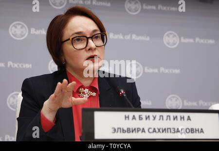 Moscow, Russia. 22nd Mar, 2019. MOSCOW, RUSSIA - MARCH 22, 2019: Russian Central Bank Governor Elvira Nabiullina gives a news conference following a board of directors meeting. It was decided to hold the key rate at 7.75% per annum. Gavriil Grigorov/TASS Credit: ITAR-TASS News Agency/Alamy Live News - Stock Photo