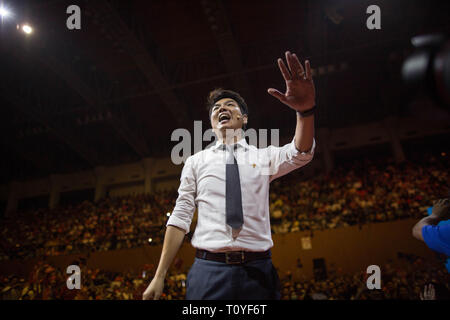 Bangkok, Thailand. 22nd Mar, 2019. Secretary-general of Future Forward Party Piyabutr Saengkanokkul greets his supporters during the Future Forward Party latest rally before the Thai General Election at the Thai-Japanese Stadium in Bangkok.The country will hold the general election on March 24, 2019, five years after the May 2014 military coup by Junta chief Prayut Chan-o-cha. Credit: Guillaume Payen/SOPA Images/ZUMA Wire/Alamy Live News - Stock Photo