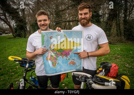 Bishops Stortford, Hertfordshire, UK. 22nd Mar 2019.   When Rugby fanatics BEN COOK (24) and his pal GEORGE BONSER-CULLEN (25) decided they wanted to support the England Rugby Team at the Rugby World Cup in Japan this September, they'd decided to make the journey a bit more interesting so felt that would  be best achieved by setting off early, six months early to be precise as the plan is to cycle to Japan from their home town of Bishops Stortford, Hertfordshire, UK. 22nd Mar 2019. . Credit: Mark Bourdillon/Alamy Live News - Stock Photo