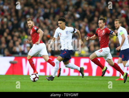 Wembley Stadium, London, UK. 22nd Mar, 2019. UEFA European Championships Qualification football, Jadon Sancho of England Credit: Action Plus Sports/Alamy Live News - Stock Photo