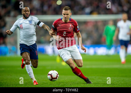 London, UK. 22nd Mar, 2019. during the UEFA Euro Qualifier Group A match between England and Czech Republic at Wembley Stadium, London, England on 22 March 2019. Photo by Salvio Calabrese. Editorial use only, license required for commercial use. No use in betting, games or a single club/league/player publications. Credit: UK Sports Pics Ltd/Alamy Live News - Stock Photo