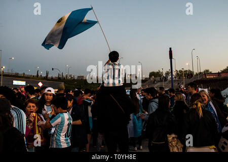Madrid, Spain. 22nd March, 2019. A young boy waiving Argentinian flag ahead of friendly football match between Argentina and Venezuela in Wanda Metropolitano Stadium. Credit: Marcos del Mazo/Almany Live News - Stock Photo