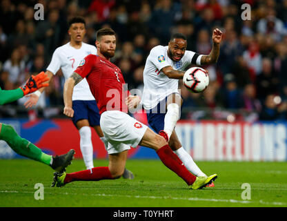 London, UK. 22nd Mar 2019. Raheem Sterling of England SCORES HIS 2ND GOAL during European Championship Qualifying between England and Czech Republic at Wembley stadium, London, England on 22 Mar 2019 Credit: Action Foto Sport/Alamy Live News - Stock Photo