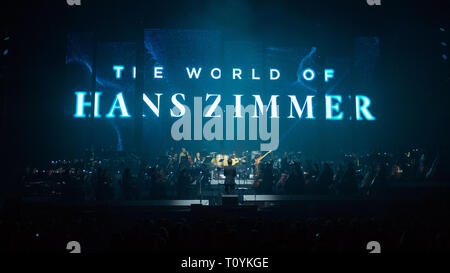 """Glasgow, UK. 22 March 2019.  Under the direction of Gavin Greenaway, Hans Zimmer's soundtrack conductor and a large symphony orchestra will deliver an intense and unforgettable concert experience in arenas around the country.  In contrast to the renowned """"Hans Zimmer Live"""" tour, where the sound focuses on Zimmer's band and the electronic sounds of the music, """"The World of Hans Zimmer – A Symphonic Celebration"""" will present the composer's works arranged for a live symphony orchestra for the very first time. Credit: Colin Fisher/Alamy Live News Stock Photo"""