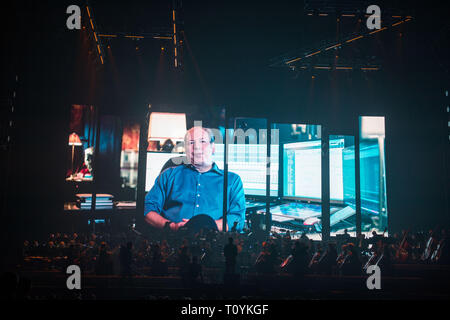 "Glasgow, UK. 22 March 2019.  Under the direction of Gavin Greenaway, Hans Zimmer's soundtrack conductor and a large symphony orchestra will deliver an intense and unforgettable concert experience in arenas around the country.  In contrast to the renowned ""Hans Zimmer Live"" tour, where the sound focuses on Zimmer's band and the electronic sounds of the music, ""The World of Hans Zimmer – A Symphonic Celebration"" will present the composer's works arranged for a live symphony orchestra for the very first time. Credit: Colin Fisher/Alamy Live News - Stock Photo"