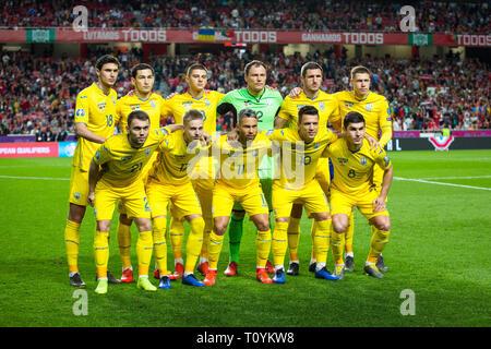 Ukrainian Team during the Qualifiers - Group B to Euro 2020 football match between Portugal vs Ukraine. (Final score: Portugal 0 - 0 Ukraine)