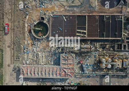 Xiangshui. 22nd Mar, 2019. Aerial photo taken on March 22, 2019 shows the site of an explosion at a chemical industrial park in Xiangshui County of Yancheng, east China's Jiangsu Province. The death toll from an explosion in a chemical plant in east China's Jiangsu Province has risen to 64 as of 7 a.m. Saturday, authorities said. Credit: Li Bo/Xinhua/Alamy Live News - Stock Photo
