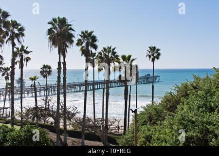 The image shows the pier during the day with palm trees seen from Parque Del Mar. It was built in 1928 with a length of about 395 meters. - Stock Photo