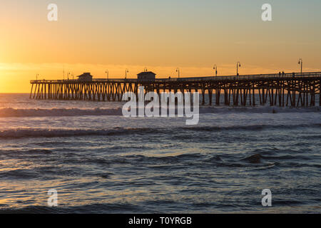 The image shows the pier. It was built in 1928 with a length of about 395 meters. - Stock Photo