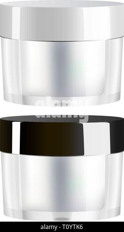 Plastic or glass Cream jar isolated on white background. Eps 10 vector 3d realistic illustration. Elit cosmetics package, ready for your design. - Stock Photo