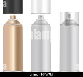 Aerosol spray metal bottles set with different dispensers and lids. Deodorant or paint cans template. Vector package illustration isolated on white ba - Stock Photo