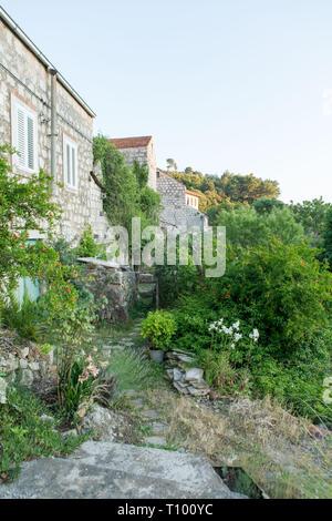 View over Lastovo town, Lastovo, Croatia - Stock Photo