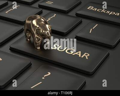 3d render of keyboard with sugar button and bear. Stock bearish market of sugar - Stock Photo