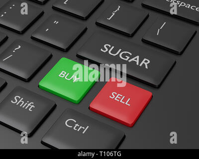 3d render of keyboard with sugar button. Stock market agricultural commodity concept - Stock Photo