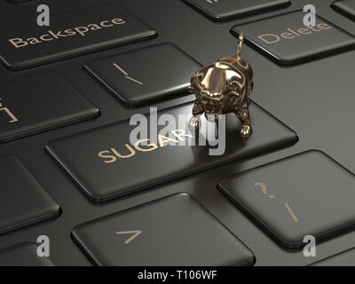 3d render of keyboard with sugar button and bull. Stock bullish market of sugar - Stock Photo