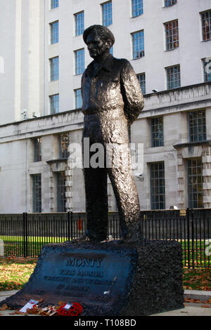 Statue fot 'Monty',Field Marshall Montgomery of Alamein in Whitehall - Stock Photo