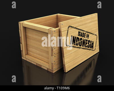 Wooden crate with stamp Made in Indonesia. Image with clipping path - Stock Photo