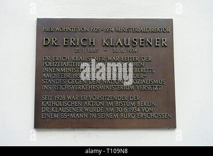 Memorial plaque, Dr. Erich Klausener, who was shot by a SS man in his office, Berlin, Germany - Stock Photo