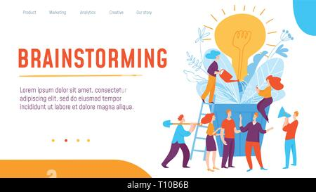 Vector concept creative brainstorming and thinking business illustration with working people.  - Stock Photo