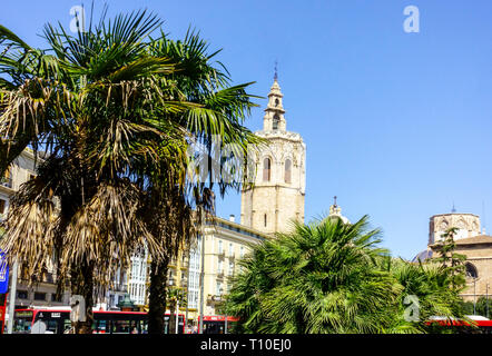Valencia, Plaza de la Reina Square, Bell Tower, Micalet, Miguelete, Valencia Miguelete, Cathedral, Spain - Stock Photo
