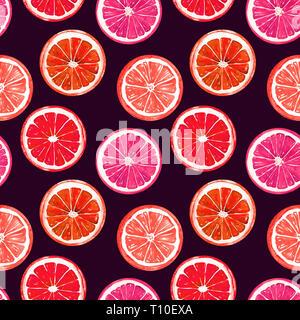 Orange and grapefruit, seamless pattern design, hand painted watercolor illustration, dark background - Stock Photo
