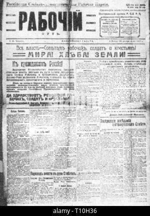 press / media, magazines, 'Pravda' (Truth), under the name 'Rabotschi Put' (The Way of the Workers), editor: Lev Kamenev, title page, Saint Petersburg, 8.11.1917, Additional-Rights-Clearance-Info-Not-Available - Stock Photo