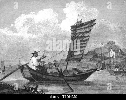 geography / travel, transport / transportation, navigation, sailing ship, junk, Chinese mail boat, wood engraving, 2nd half 19th century, Artist's Copyright has not to be cleared - Stock Photo